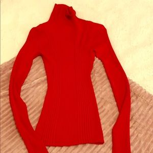 Body Central Red Ribbed Turtleneck